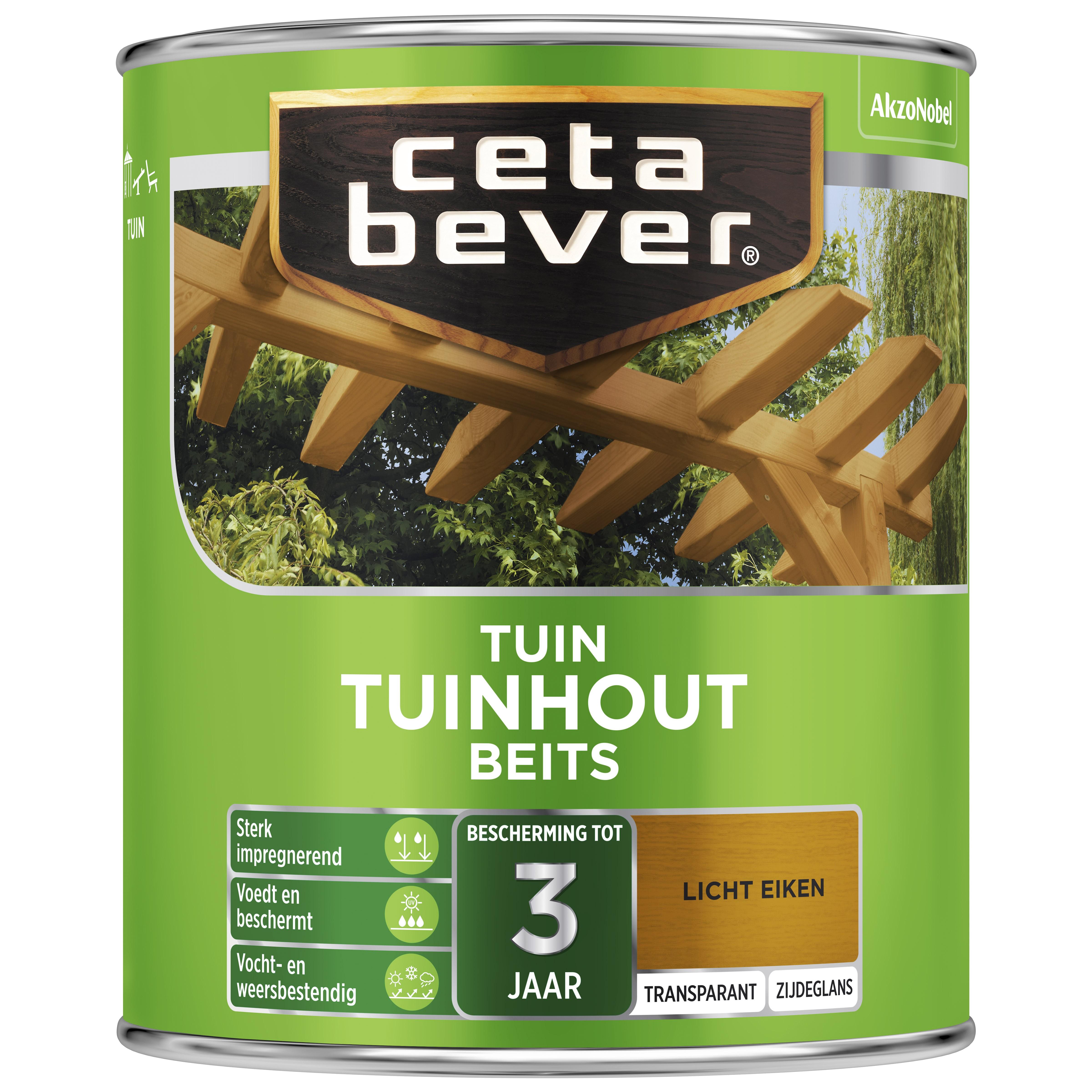 Afbeelding van CetaBever Tuinbeits Transparant 0 75 liter licht eiken 006